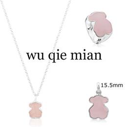 Rose quaRtz 925 steRling online shopping - 2019 Sterling Silver Sweet Bear Ring Rose Quartz Clavicle Chain Bear Necklace Pendant