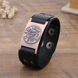 Discount wholesale pentagram bracelets - Wicca Sigil Studded Cuff Wristband Punk Pentagram Charm Fashion Jewelry Making Adjustable Leather Bracelets