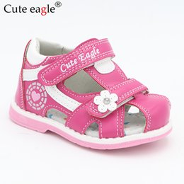 Baby Girl Cute Sandals Australia - Cute Eagle Summer Orthopedic Sandals Pu Leather Toddler Kids For Girls Closed Toe Baby Flat Shoes Eur 20-30 New Q190601
