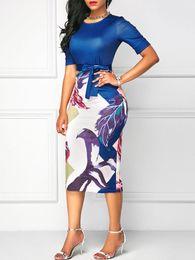 $enCountryForm.capitalKeyWord Australia - Professional Women Elegant Casual Work Business Office Classic O Neck Neck Belt Printing Patchwork Bodycon Pencil Dress designer clothes