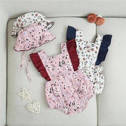 $enCountryForm.capitalKeyWord Australia - INS New Summer Toddler Baby Girls Floral Jumpsuits with Hat 2pieces Suits Ruffles Sleeve Square Collar Cotton Bodysuit Baby Romper 3-18M