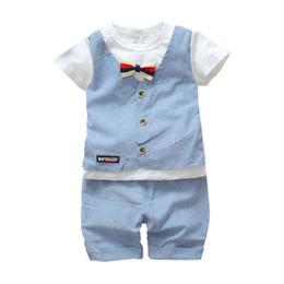 Summer Gentleman Cotton Sets Australia - Summer Infant Newborn Cotton Clothes Children Boys Girls Gentlemen T-shirt Shorts 2Pcs Set Kids Handsome Clothing Sets Tracksuit