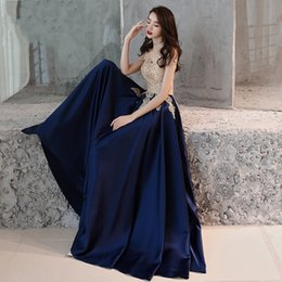 $enCountryForm.capitalKeyWord Australia - Beauty Emily Evening Dress 2019 Gold Lace Navy Blue Fashion Party Gowns Boat Neck Floor length Long Formal Dresses