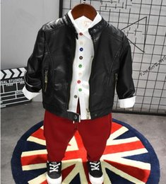 $enCountryForm.capitalKeyWord Australia - 2019 Fashion 2-6T Kids Boys Clothes Sets 3PCS Spring&Autumn Fall Faux Leather Jacket + shirt+Pant For Kids Clothing Suits New