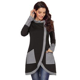 $enCountryForm.capitalKeyWord UK - Women New Striped Long-sleeve Slim Hoodies Asymmetric Hem Ladies Long Section Large Size Sweater Female Casual Sweatshirts