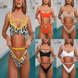 e1c9dc0e90 FDBRO 2019 New Bathing Suit Leopard Yellow Swimsuit Female Bathers String Sexy  Push Up Swimwear Summer Swim V Bottom Thong Bikinis Free Ship