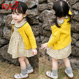 $enCountryForm.capitalKeyWord Australia - R&z Children's Suit 2019 Spring And Autumn Girls Fashion Suit Candy Color Sweater Cardigan Long-sleeved Plaid Dress Two-piece J190709