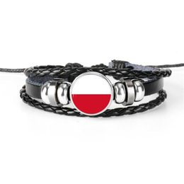 $enCountryForm.capitalKeyWord Australia - Indonesia National Flag World Cup Football Fan Time Gem Glass Dome Bracelets Handmade Cowhide Leather Rope Beaded Jewelry for Women Men Gift