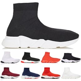 best quality boots 2019 - 2019 Best Quality Speed Trainer Black White Designer Sneakers Men Women Black Red Casual Shoes Fashion Socks Sneaker Top