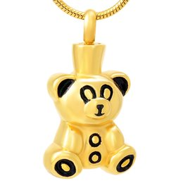 teddy bear silver chain UK - hh8657 Stainless Steel Cremation Teddy Bear Cute Animal Bear Pendant Necklace for Women Girl Birthday Love Party Jewelry