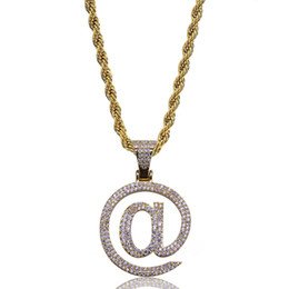 Personalized Christmas Plates Australia - New 18K Gold & White Gold Plated Iced Out Cubic Zircon Hollowed @ Symbol Pendant Chain Necklace Personalized Hip Hop Jewelry for Women & Men