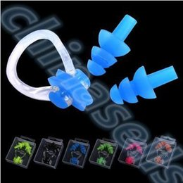 $enCountryForm.capitalKeyWord NZ - 20set Soft Silicone Waterproof Swimming Diving Surf Water Sports Protection Earplugs Nose Clip with Case Bag Swim Pool Gear tool