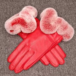Leather Gloves For Ladies Australia - Ladies handmade Real Rex Rabbit Fur Gloves Women Genuine Leather Gloves for Winter Touchscreen Fashion mittens