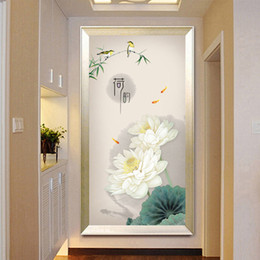 $enCountryForm.capitalKeyWord NZ - Diamond Embroidery Mosaic Painting Cross Stitch Full New Chinese Style Lotus Entrance Painting DIY 5D 3D Sale Decoration Gift