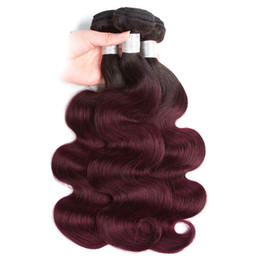 Buy Wholesale Brazilian Human Hair UK - 8a Ombre Straight Hair Bundles 1B 99J Burgundy Two Tone Brazilian Human Hair Weave Bundles Can Buy 3 4 Bundles Body Wave Ombre hair