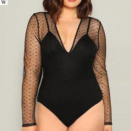 bodysuit for women wholesale UK - 2020 Summer Women Sexy Bodysuit Black Solid Mesh Long Sleeve Party Club Bodysuit Body For Women Short Jumpsuit 2.27