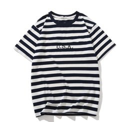 mens short jeans NZ - Jeans USA Mens Striped T shirts Summer Fashion Embroidery Designer Tees Short Sleeved Tops Clothes