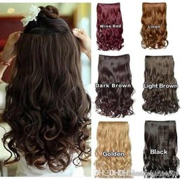Clip Hair Black Australia - 1 Pack Women'S Wig Hair Hairpieces Synthetic 3 4 Full Head Curly Wave Clips For Women 5 Clips