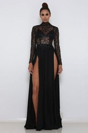 line high back tulle evening dresses UK - Sexy High Neck Long sleeves Front Split Evening Gown Black Lace Sequins Floor-Length Prom Dress robes de soirée Formal Evening Dresses 2019