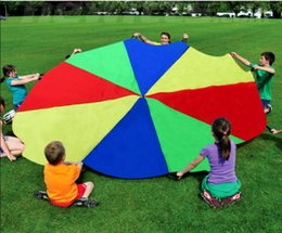 China Kids Birthday Party Game Outdoor Parachute Games 2m 78' Big Size Rainbow Umbrella Educational Toys for Children Sport supplier kids parachute games suppliers