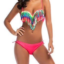 668358a180 Womens sWimWear sale online shopping - Hot Sale Womens Bikini Fashion  Fluorescence Color Tassles Swimwear Summer