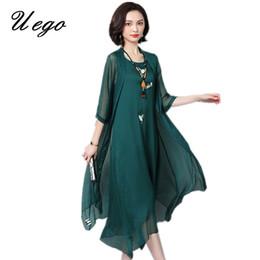 Linen Dress Suit Australia - Uego 2019 Fashion Thin Light Two Piece Set Summer Dress Suits Embroidery Floral Linen Plus Size Loose Women Casual Long Dress Y19053001
