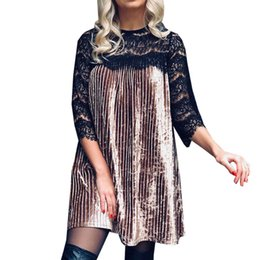 Lace Pleated Australia - Patchwork Lace Dresses For Women Vestidos Night Club Clothing Sexy Velvet Tunic 2019 Spring Casual Pleated Party Women's Dress Y190425