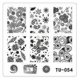 Cartoon Stamping Australia - 1pc Nail Stamping Plates Flower Cartoon Wave Design Nail Art Image Template 6*6cm Square Diy Manicure Stencils Tool