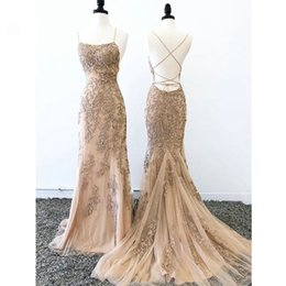backless prom dress patterns Canada - Champagne 3D Floral Applique Lace Formal Dresses Evening Wear 2019 Spaghetti Straps Criss Cross Backless Tulle Mermaid Prom Dress Women