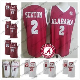 0f6145c0e1ba Custom Alabama Crimson Tide College Basketball Stitched Any Name Number 2  Sexton 25 Horry 34 Tevin Mack Collin Robert red white Jersey S-4XL