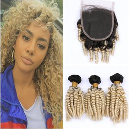 $enCountryForm.capitalKeyWord Australia - Aunty Funmi Blonde Ombre 3Bundles Malaysian Human Hair Weaves with Top Closure Blonde Ombre Bouncy Curly Hair Weaves with 4x4 Lace Closure