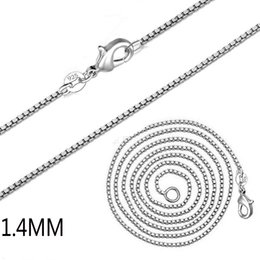 Horn Chains Australia - plating 925 Sterling Silver Necklace Chain Women Wedding Jewelry 1.4MM 2MM Box Chain Necklace New Arrive Hot Fashion Jewelry