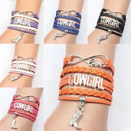 $enCountryForm.capitalKeyWord Australia - NCRHGL Infinity love COWGIRL bracelet bangles boot charm braided pu leather bracelets trendy jewelry for men women Drop Shipping