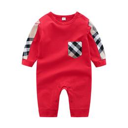 Ingrosso Summer Toddler Baby Infant Boy Designer Designer Abbigliamento neonato tuta manica lunga in cotone Pigiama 0-24 mesi Pagliaccetto Designer vestiti Bambini ragazza