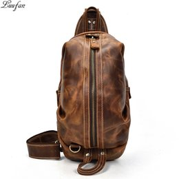 genuine leather chest bags 2019 - Vintage Genuine Leather Crazy Horse Leather Men Chest Pack Mini Cowhide Messenger Gags Fashion Sling Bag Single Shoulder