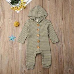 hooded jumpsuit green Australia - Baby Boy Girl Green Striped Long Sleeve Hooded Romper 0-24M Newborn Infant Toddler Casual Cotton Jumpsuit Playsuit Outfits