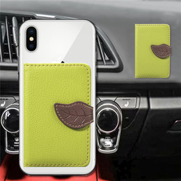 Stickers For Iphone Cases Australia - Universal Back Phone Card Slot 3M Sticker Leather Phone Stick On Wallet Cash ID Credit Card Holder For iPhone XR X Galaxy Note9 S9 Leaf Case