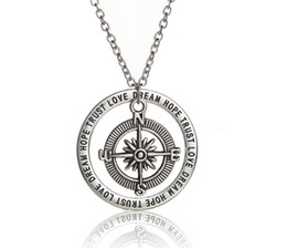 Wholesale Pendant Engraving Australia - Compass Dream Hope Trust Necklace Antique Silver Engraved Round Statement Pendant Necklace For Women Inspire Fashion Jewelry Friendship Gift