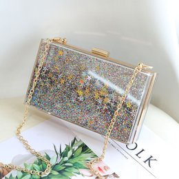 $enCountryForm.capitalKeyWord Australia - 2019 new acrylic double-sided liquid quicksand sequins dinner lady's bag with one shoulder and small square bag in hand