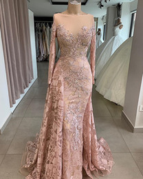 navy taffeta jewel dress Australia - Vintage Blush Mermaid Prom Pageant Dresses with Long Sleeve 2020 Jewel Neck Lace Beaded Sheer Neck Trumpet Arabic Occasion Evening Gowns