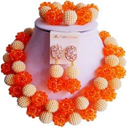 $enCountryForm.capitalKeyWord Australia - African Vintage Orange Beige Nigerian Women Wedding Beads Crystal Jewelry Sets 2C-ZZSJ-57