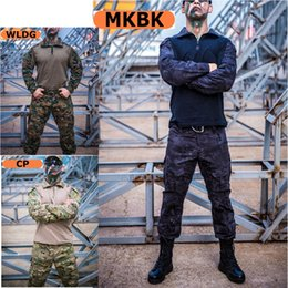 hunting clothing set 2019 - Tactical Combat Camouflage Uniform Set Hunting Paintball Shirt Pants for Men Women Army Shooting Clothes cheap hunting c