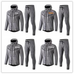 Discount paris hoodie - 18 19 PSG soccer jackets Hoodies tracksuits grey 2019 Paris football Hoodies MESSI KANE KUN AGUERO MBAPPE Full Zipper Wi