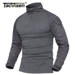 Military Camouflage Clothing NZ - Tacvasen Camouflage T-shirts Men Army Combat Tactical T Shirt Male Airsoft Military Clothing Long Sleeve Cotton Assault T-shirts T4190617