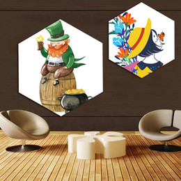 $enCountryForm.capitalKeyWord NZ - Nordic Watercolor Canvas Painting Prints Abstract Beer Barrel Poster Bedroom Wall Art Hexagon Girl Pictures Home Decor Frame