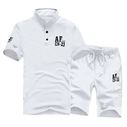 $enCountryForm.capitalKeyWord NZ - Summer Short-sleeve T-shirt + Short Pants Track Suits Set Men Set Costumes Casual Man Suits White Grey M~3XL