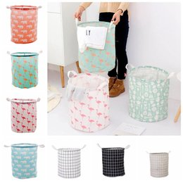 flamingo clothes Australia - Foldable Laundry Storage Basket 9 Styles Flamingo Bear Printed Clothes Storage Bag Home Sundries Storage Barrel Kids Organizer 10pcs OA6832