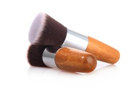 foundation bamboo UK - Flat head bamboo brush premium soft synthetic hair blush foundation brushes makeup tools DHL Free cosmetics accessories