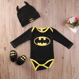 $enCountryForm.capitalKeyWord Australia - Newborn Baby Boy Batman Bodysuit Shoes Hat Clothes 3Pcs Outfits Set 0-24M