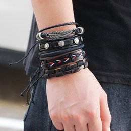 braided feather bracelet 2019 - Vintage Leaf Feather Leather Bracelets Multilayer Punk Bangles for Men Braided Handmade Star Rope Wrap Bracelet Jewerly